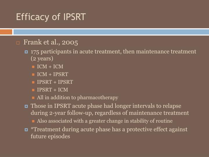 Efficacy of IPSRT