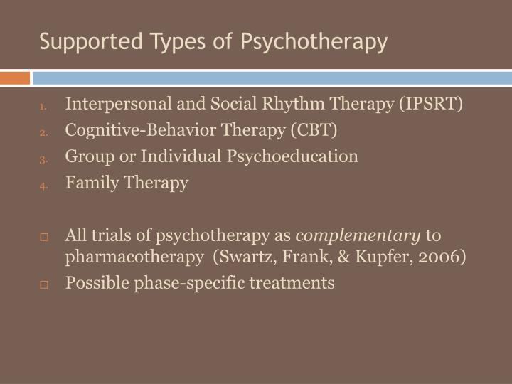 Supported Types of Psychotherapy