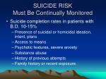 suicide risk must be continually monitored