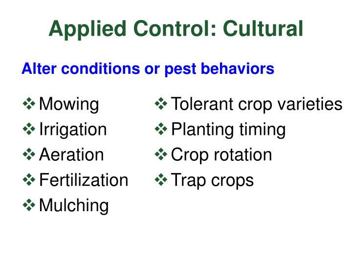 Applied Control: Cultural