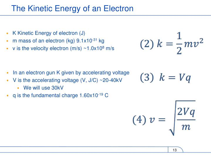 K Kinetic Energy of electron (J)
