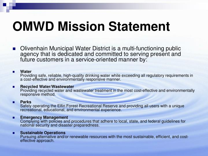 Omwd mission statement