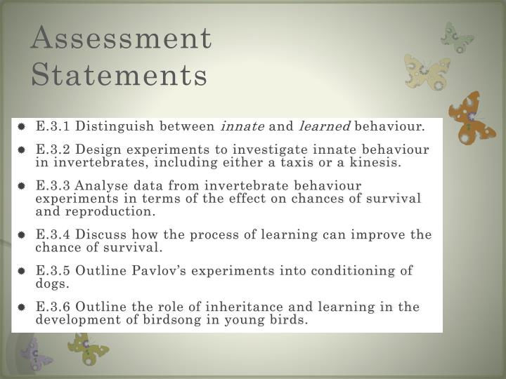 Assessment statements