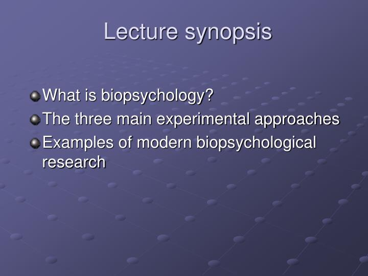 Lecture synopsis