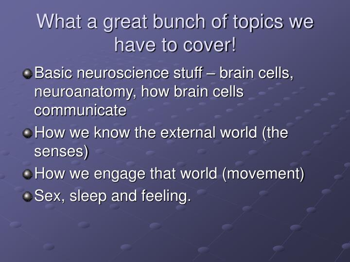 What a great bunch of topics we have to cover!