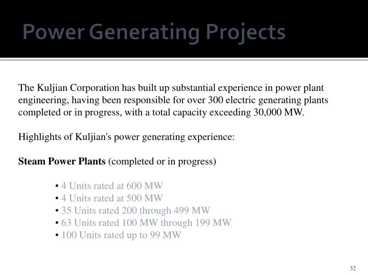 Power Generating Projects