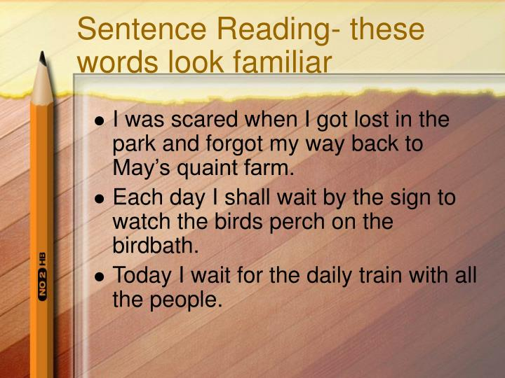 Sentence Reading- these words look familiar