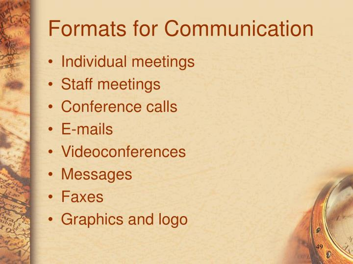 Formats for Communication