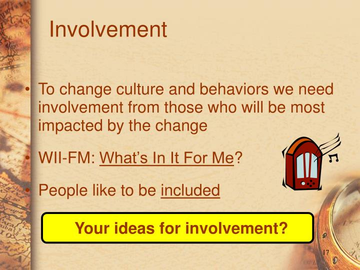Your ideas for involvement?