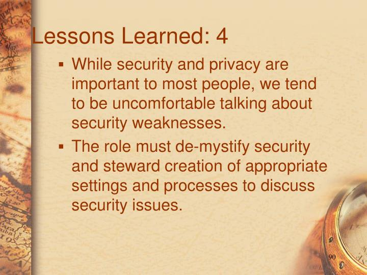 Lessons Learned: 4