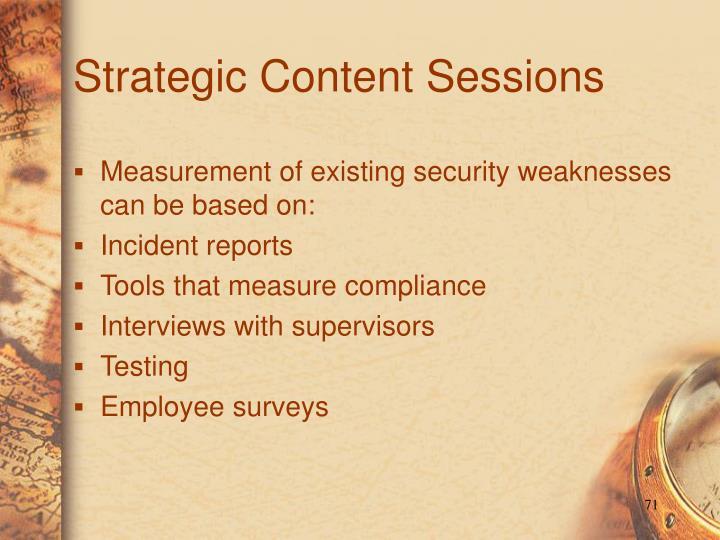Strategic Content Sessions