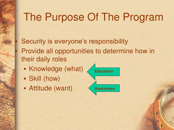 The Purpose Of The Program