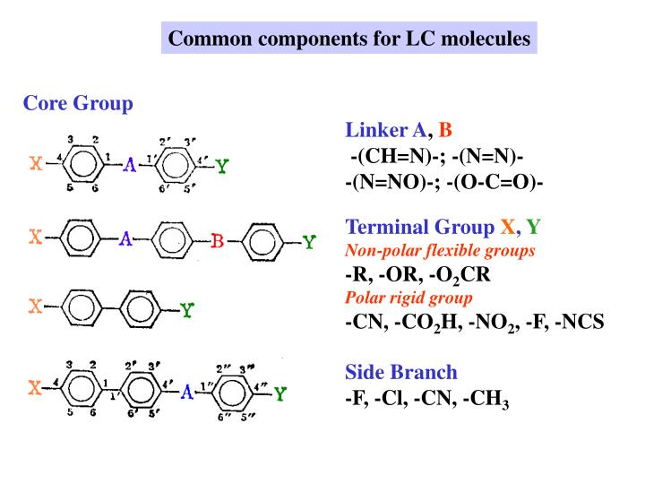 Common components for LC molecules