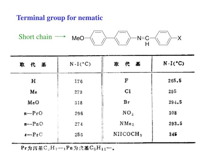 Terminal group for nematic
