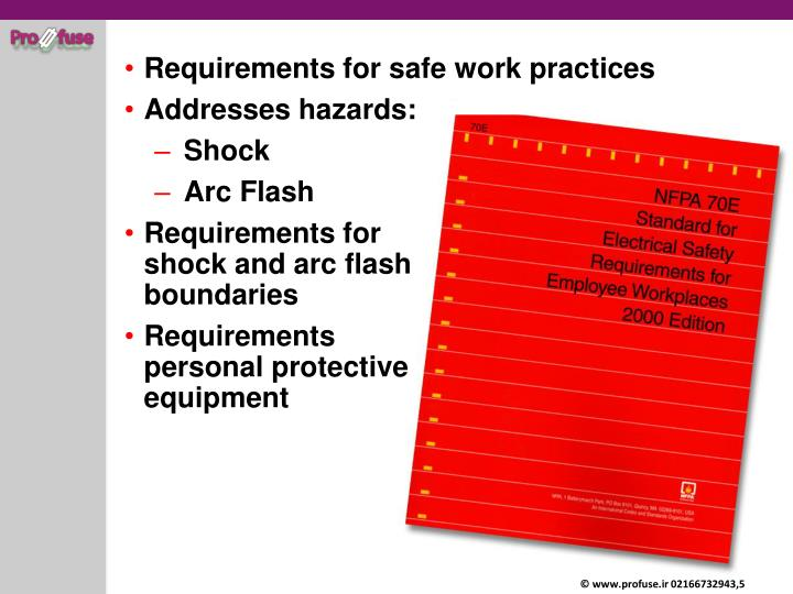 Requirements for safe work practices
