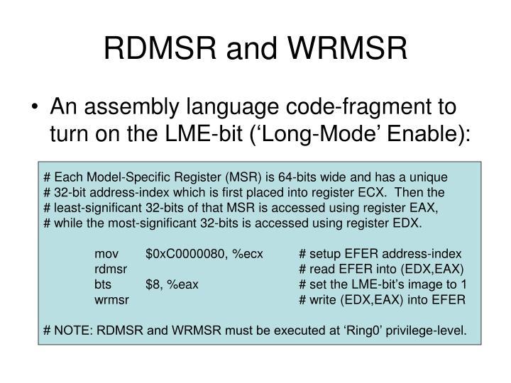 RDMSR and WRMSR