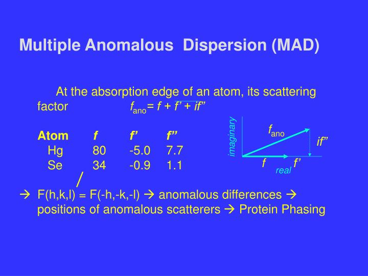 Multiple Anomalous  Dispersion (MAD)