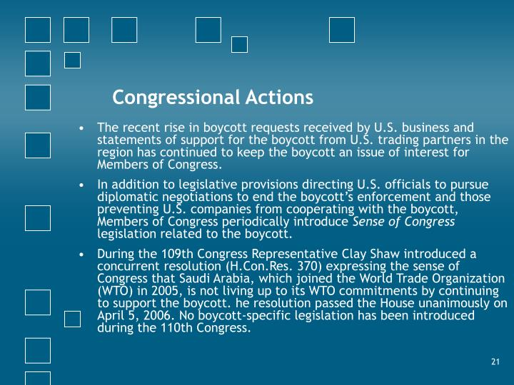 Congressional Actions