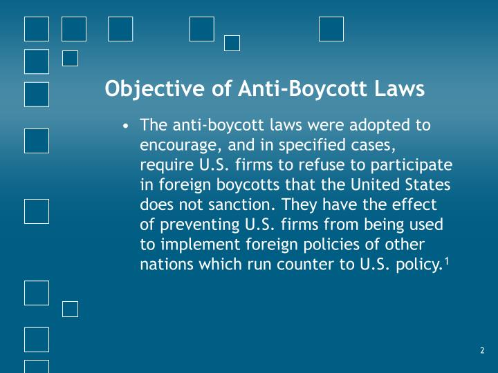 Objective of anti boycott laws
