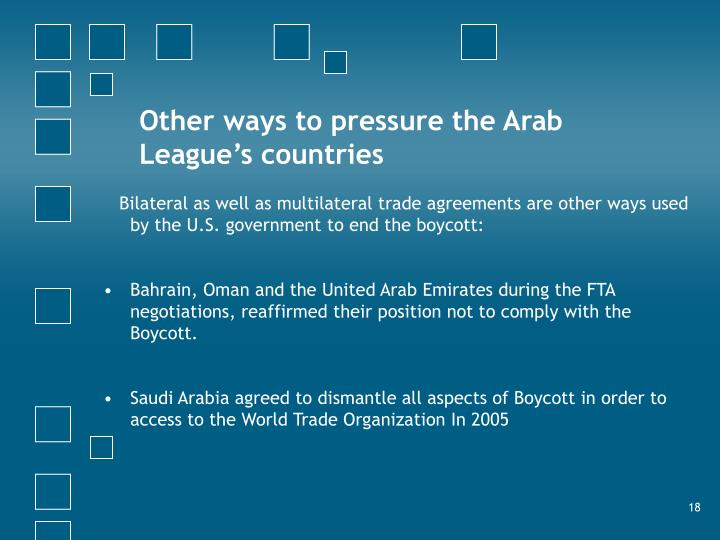 Other ways to pressure the Arab League's countries