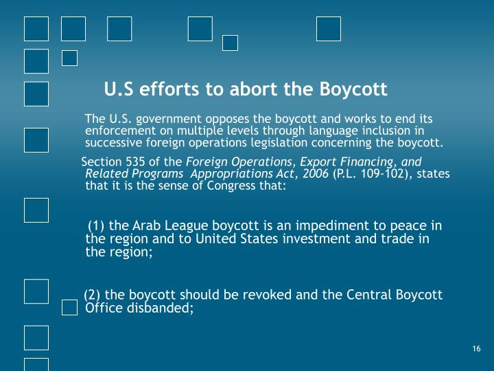 U.S efforts to abort the Boycott