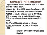 examples of iv recalculation