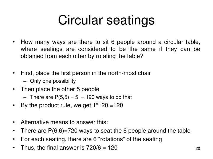 Circular seatings