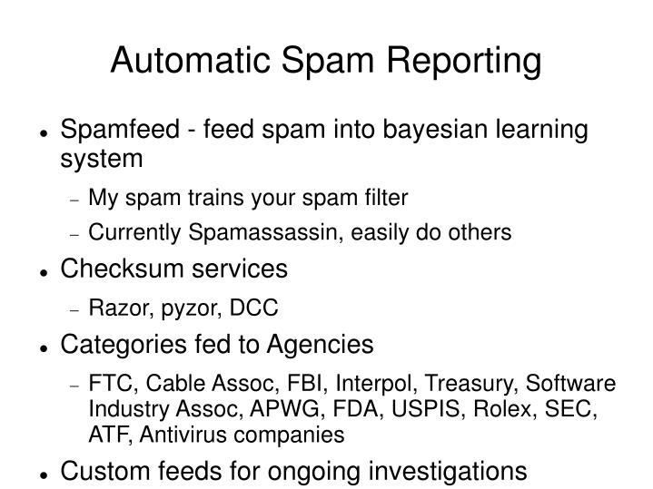 Automatic Spam Reporting