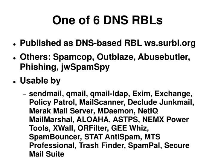 One of 6 DNS RBLs