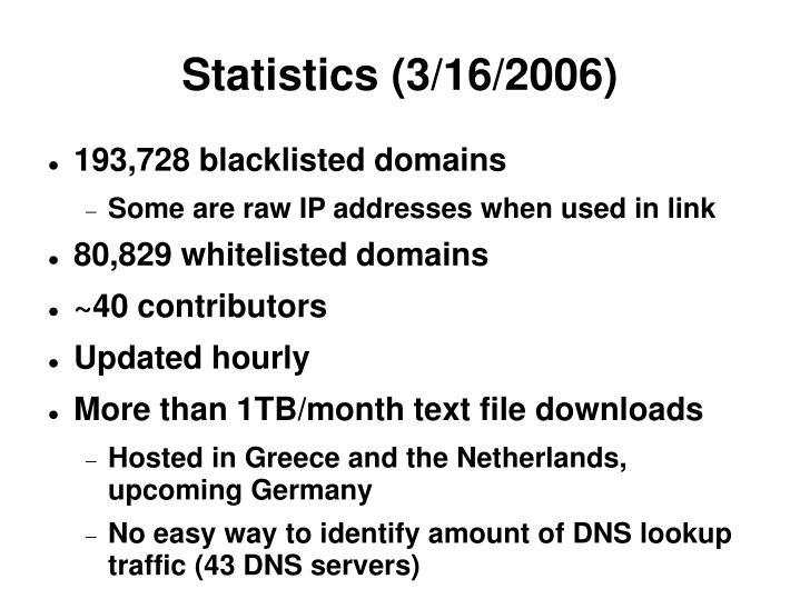 Statistics 3 16 2006