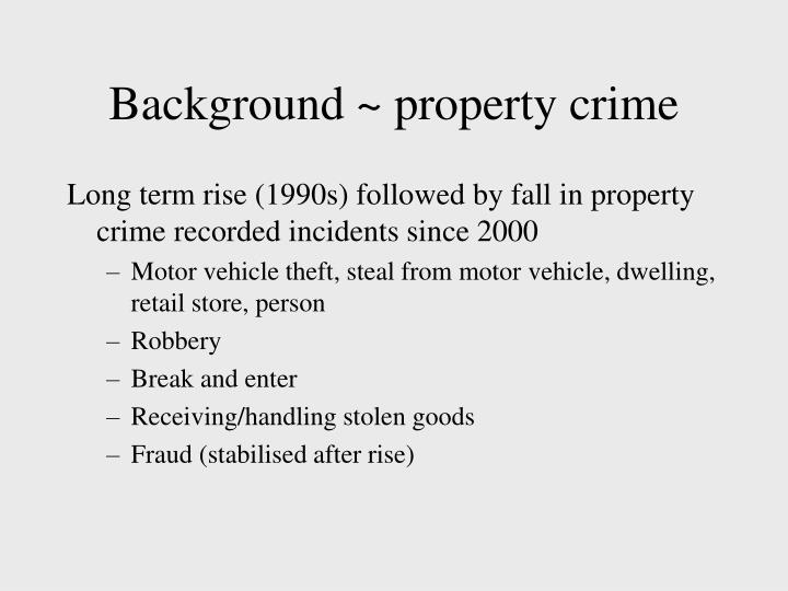 Background property crime