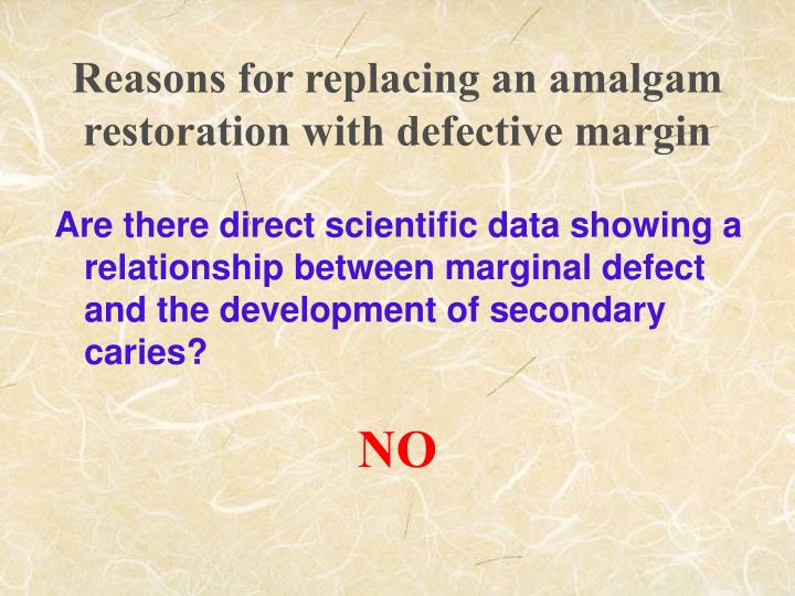 Reasons for replacing an amalgam restoration with defective margin