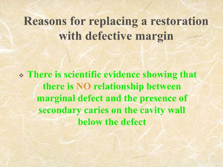 Reasons for replacing a restoration with defective margin