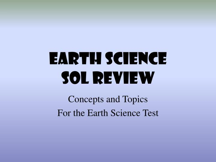 earth science sol review n.