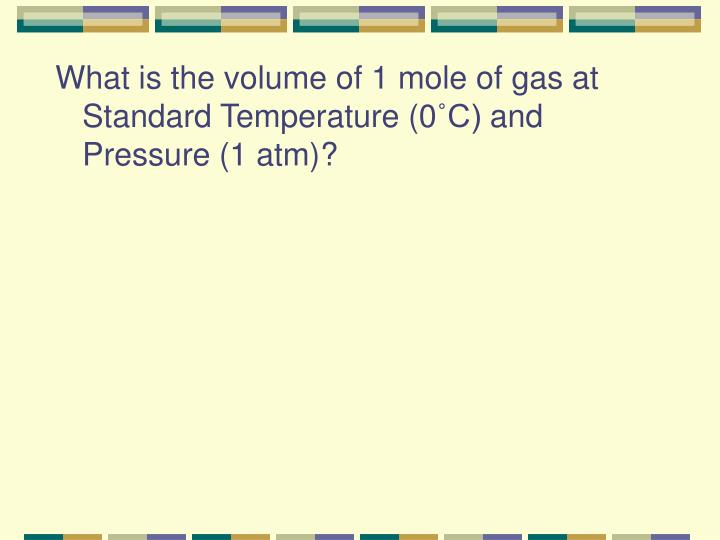 What is the volume of 1 mole of gas at Standard Temperature (0