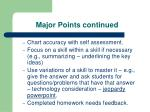 major points continued