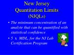 new jersey quantitation limits njqls