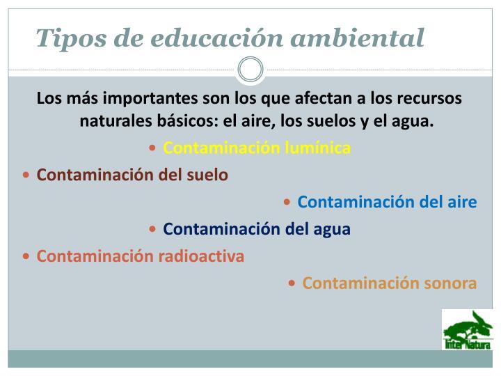 Tipos de educaci n ambiental