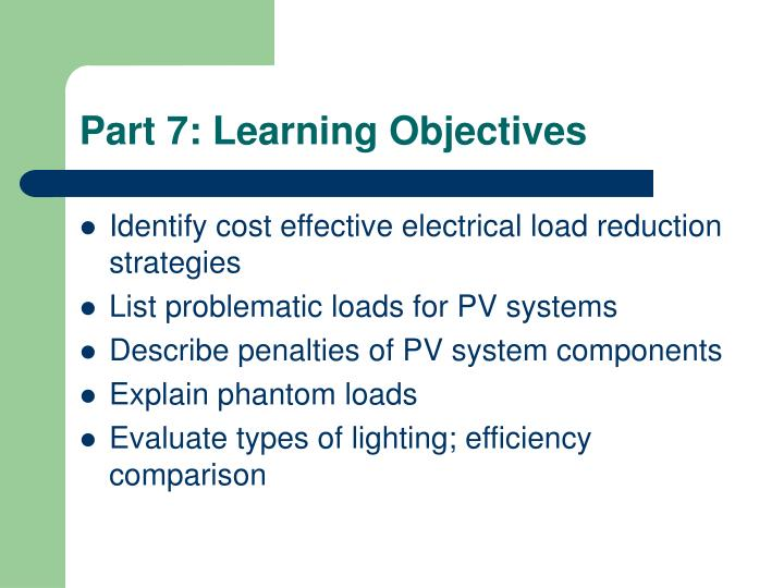 Part 7: Learning Objectives