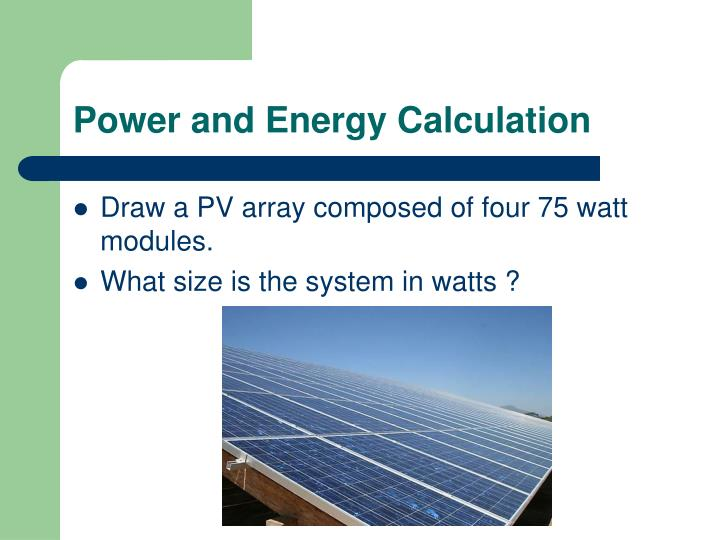 Power and Energy Calculation