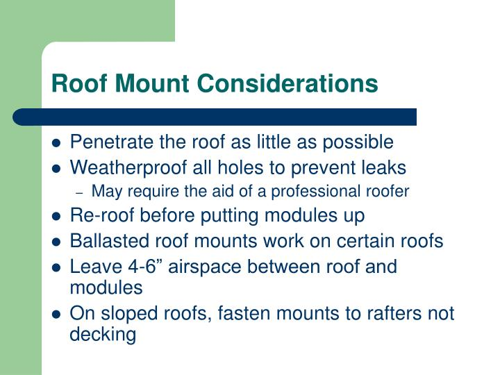 Roof Mount Considerations