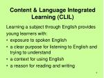 content language integrated learning clil