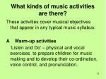 what kinds of music activities are there