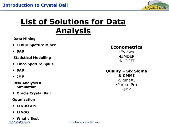 List of Solutions for Data Analysis