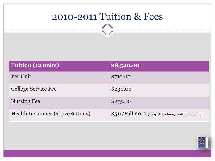 2010-2011 Tuition & Fees