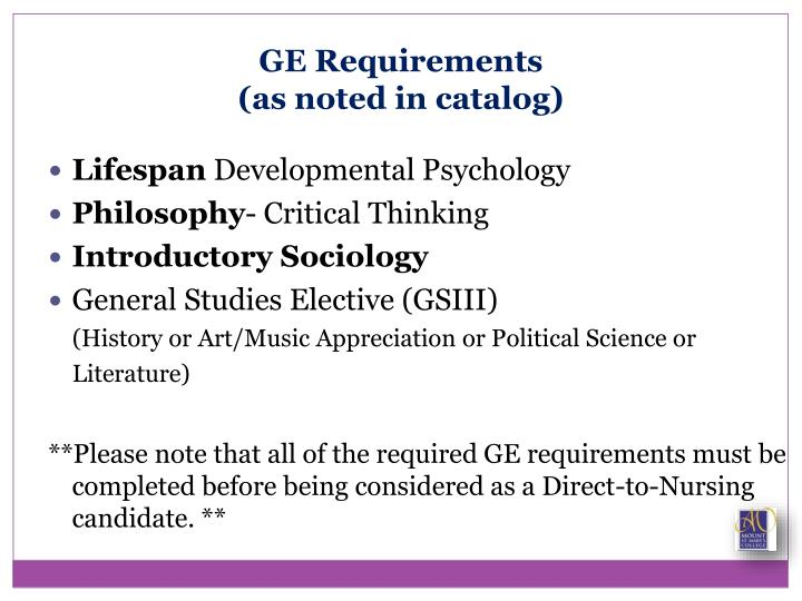 GE Requirements