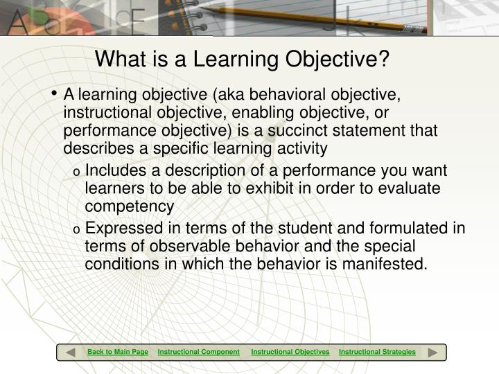What is a Learning Objective?