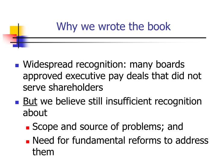 Why we wrote the book