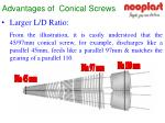 advantages of conical screws