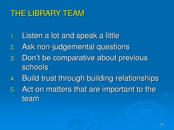 THE LIBRARY TEAM